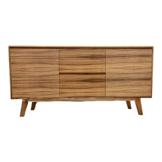Mid Century Modern Solid Wood Credenza For Sale