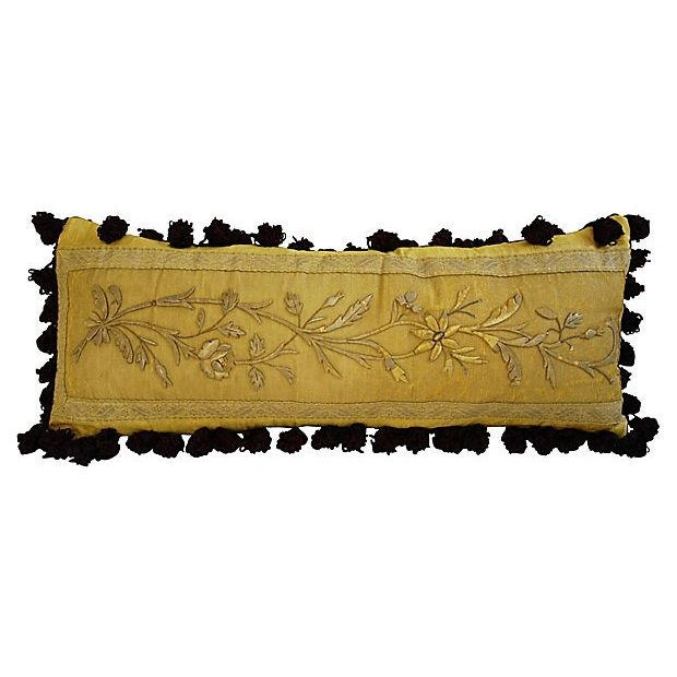 Antique French Silk Embroidered Pillow - Image 8 of 8