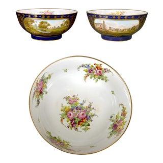 Edme Samson Et Cie, Paris Porcelain Mazarine Blue-Ground Punch Bowl With Botanical Interior and Landscape Panels to Exterior For Sale