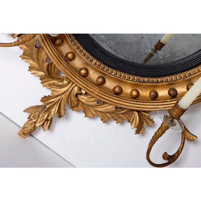 18th Century George III Gilt-Wood Convex Girandole Mirror For Sale - Image 4 of 13
