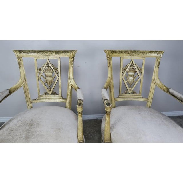 1930s Pair of 1930s Italian Neoclassical Painted Armchairs W/ Urns For Sale - Image 5 of 12