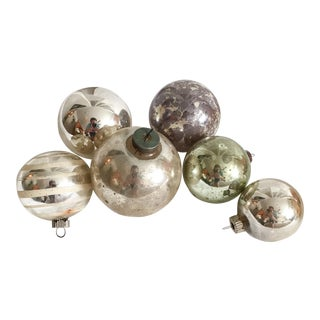 Vintage Mercury Glass Christmas Ornaments - Set of 6