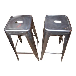 Mid Century Modern Aluminum Bar Stools - Pair For Sale