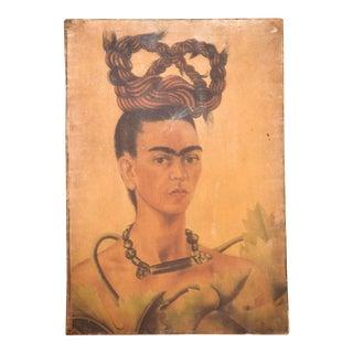 "Mid Century Modern ""Frida Kahlo"" Portrait Oil on Canvas Painting For Sale"