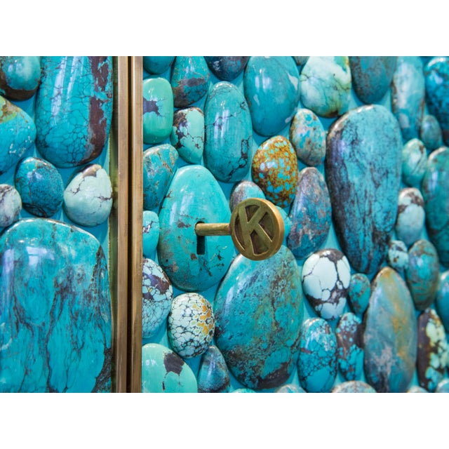 Kam Tin - Turquoise Tall Cabinet Made of Real Turquoise Cabochons, France,2014 For Sale - Image 6 of 9