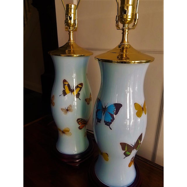 Hand Designed Decoupaged Butterfly Glass Lamps With Blue - a Pair For Sale - Image 4 of 7
