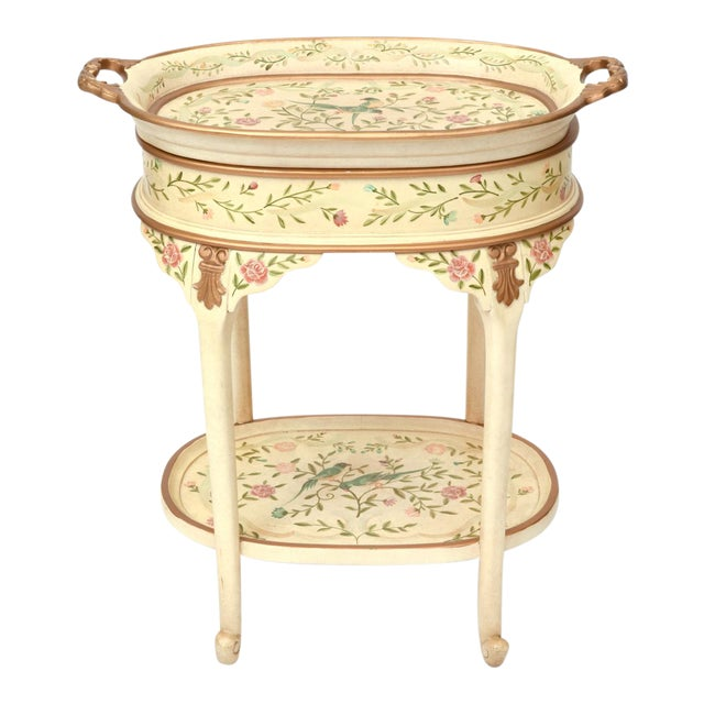 Vintage Wood Hand Painted Serving / Side Tray Table For Sale