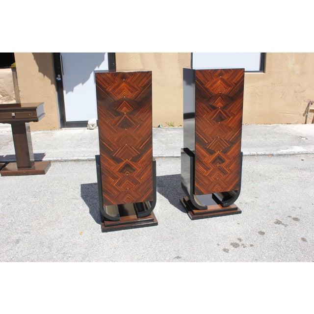 French Art Deco Macassar Ebony Pedestals - A Pair - Image 9 of 10
