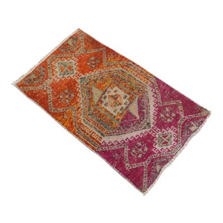 Distressed Low Pile Turkish Yastik Petite Rug Hand Knotted Faded Mat - 20'' X 33'' For Sale