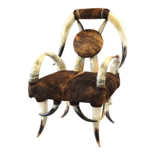 American Modern Rustic Long-Horn Armchair With Leather Upholstery For Sale