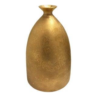 Flared Ceramic Bottle Vase with Burnished Gold Lustre Glaze by Sandi Fellman For Sale