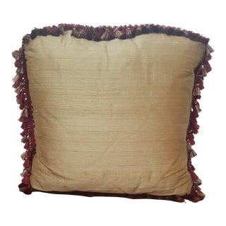 "Traditional Gold and Burgundy Silk Throw Pillow - 19x19"" For Sale"