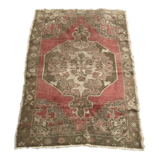 "Hand Made Vintage Turkish Distressed Area Rug- 3'10""x5'10"" For Sale"
