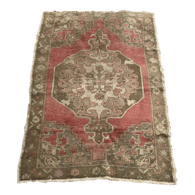 """Hand Made Vintage Turkish Distressed Area Rug- 3'10""""x5'10"""" For Sale"""