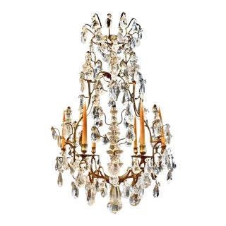 Mid 18th Century French Louis XV Gilt Bronze and Rock Crystal Chandelier For Sale