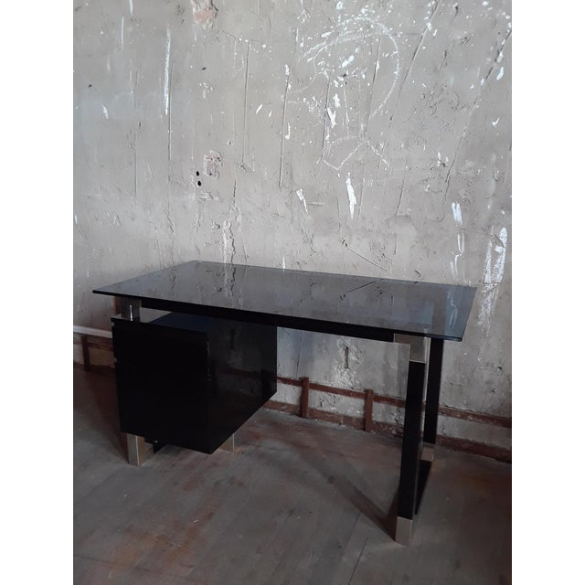 Glass Black Lacquered Desk With Blue Glass Top For Sale - Image 7 of 7
