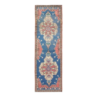 Grand Dual Medallion Oushak Vintage Runner From Turkey in Red and Blue For Sale