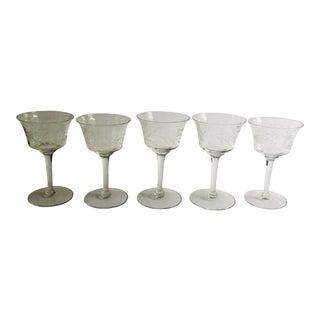 Vintage Etched Floral Design Sherry Glasses - Set of 5 For Sale