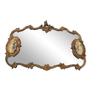 """French Rococo Style Gold Wall Mirror With Bisque Figural """"Lovers"""" Plaques For Sale"""
