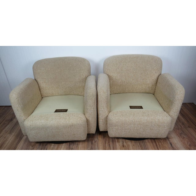 1970s Mid-Century Modern Wool Tweed Swivel Chairs by Preview - a Pair For Sale - Image 10 of 13
