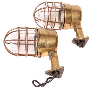 Brass Maritime Wall Sconces - A Pair For Sale