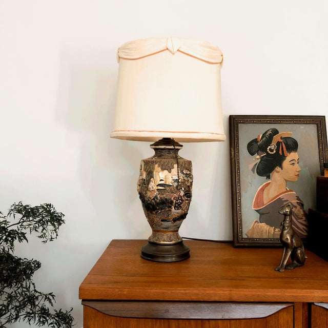 Vintage 1930s Satsuma Japanese moriage table lamp. The lamp was made from a Satsuma ceramic urn, and converted with brass...