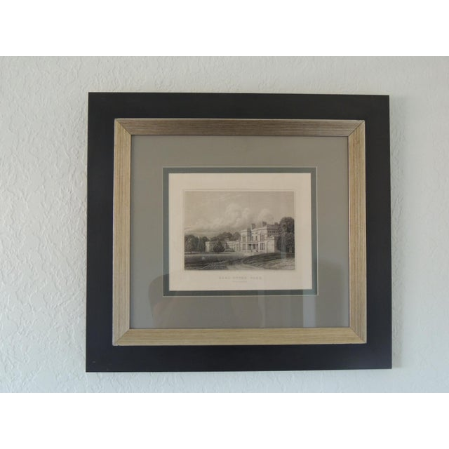 2000 - 2009 English Manors Engraving Reproduction in Black & White Framed #4 For Sale - Image 5 of 5