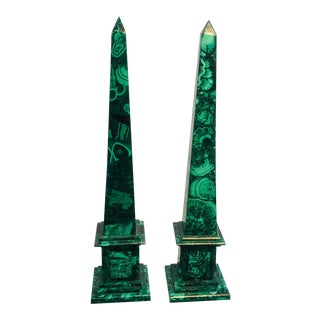 Malachite Columns - A Pair For Sale