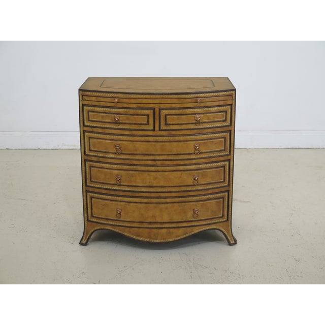 1990s Art Deco Maitland Smith Bow Front Leather Bachelor Chest For Sale - Image 13 of 13