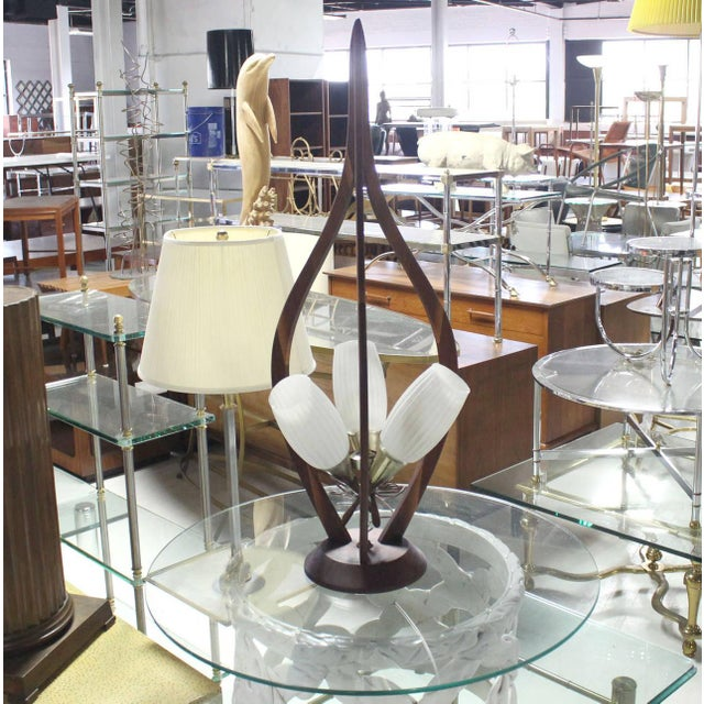 Mid-Century Modern Danish Modern Walnut Brass and Glass Table Lamp For Sale - Image 3 of 8