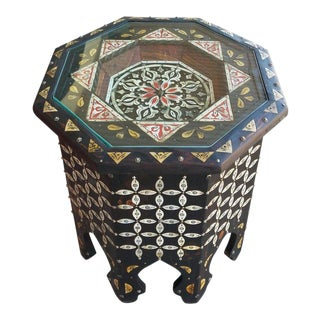 Moroccan Camel Bone and Metal Inlay End Table For Sale