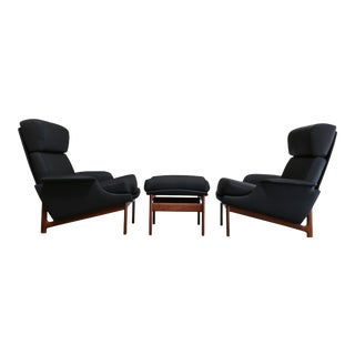 "Mid Century Ib Kofod-Larsen for Mogens Kold ""Adam"" Lounge Chairs With Ottoman - Set of 3 For Sale"