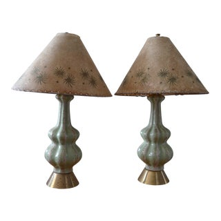 Mid-Century Celadon Green Gourd Table Lamps - a Pair For Sale