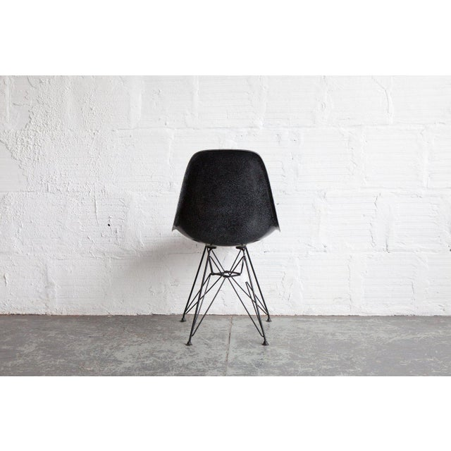 Charles and Ray Eames 1950s Mid-Century Modern Charcoal Side Shell on Eiffel Base For Sale - Image 4 of 5