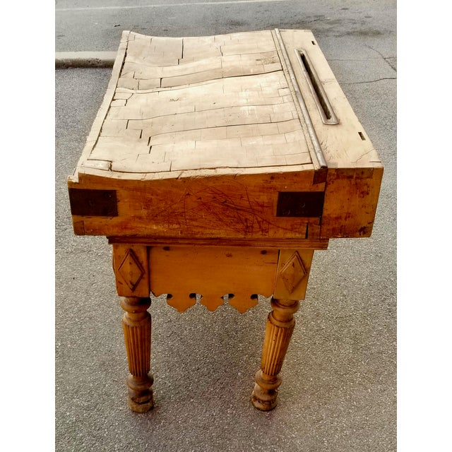Mid 19th Century 19th Century Parisian Butcher Block Table For Sale - Image 5 of 13