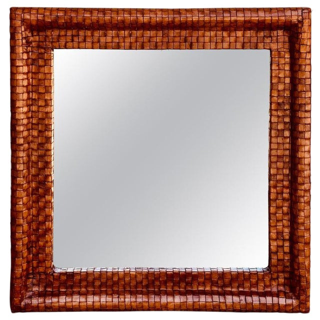 French Modern Woven Leather Mirror For Sale
