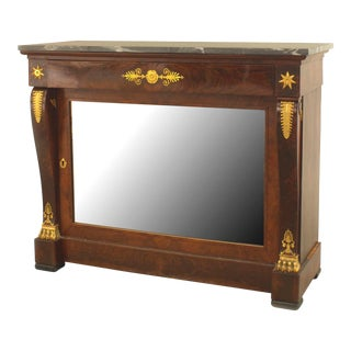 Mahogany and Bronze Trimmed Console Table For Sale
