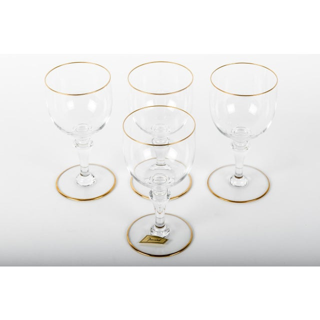 Vintage Set Of Four Baccarat Crystal With Gold Trimmed Top and Base Wine Glasses. Excellent Condition . Each Wine Glass...