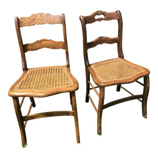 Victorian Caned Seat Chairs - A Pair For Sale
