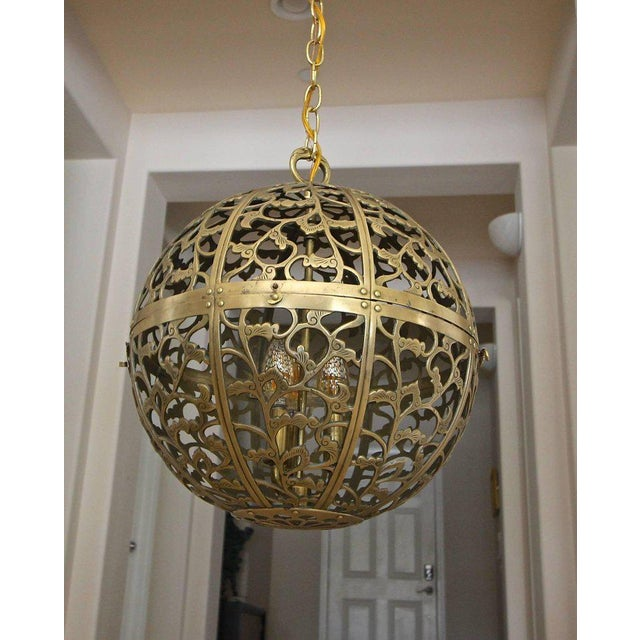 Large Japanese Asian Pierced Filigree Brass Ceiling Pendant Light For Sale - Image 4 of 11