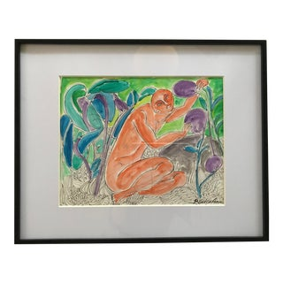 Vintage Expressionist Watercolor Painting Signed Philip Callahan For Sale