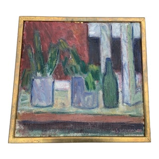 1960s French Still Life with Succulents Oil Painting, Framed For Sale
