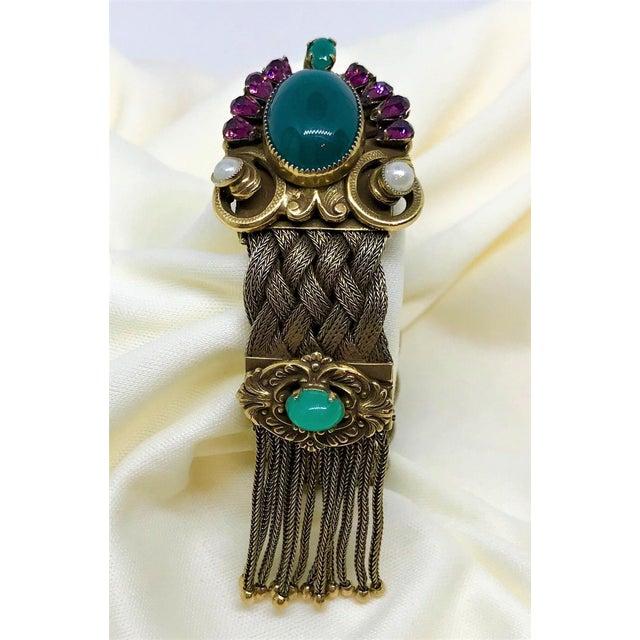 1940s Victorian Revival Goldtone Jeweled Tassel Bracelet For Sale In Los Angeles - Image 6 of 9