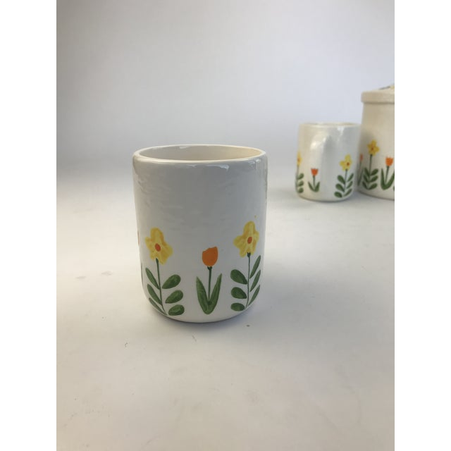 White White 1960's Japanese Coffee Cups and Canister - Set of 5 For Sale - Image 8 of 11
