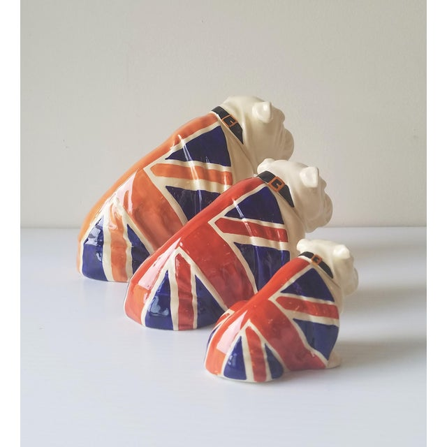 1940s Royal Doulton Winston Churchill English Bulldogs / Union Jack Bulldogs - Set of 3 For Sale In Seattle - Image 6 of 13