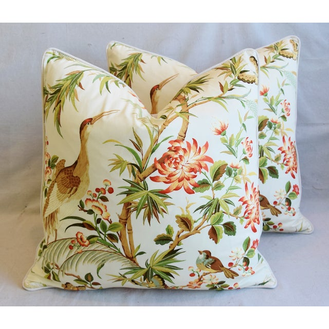 """Cotton Chinoiserie Floral Birds & Crane Feather/Down Pillows 24"""" Square - Pair For Sale - Image 7 of 13"""