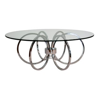 Milo Baughman -Style Chrome Ring Coffee Table