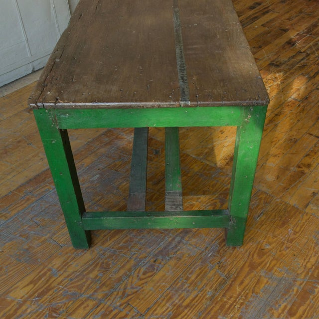 Large French Industrial Wooden Table With Green Paint For Sale - Image 9 of 10