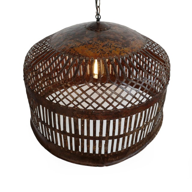 Original vintage iron basket cage, repurposed into unique industrial farm style lighting fixture. Beautiful aged and...