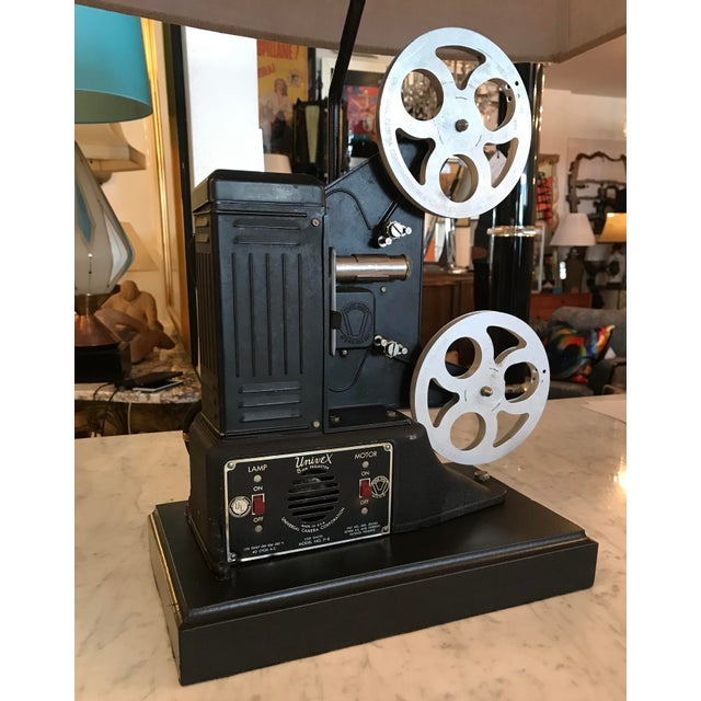 Industrial Custom Vintage Movie Projector Table Lamp For Sale - Image 3 of 9